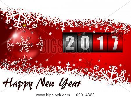 Modern design 2017 counter happy new year background with christmas ball and snowflakes.