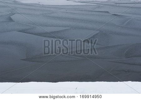 Ice on river. Natural winter background.