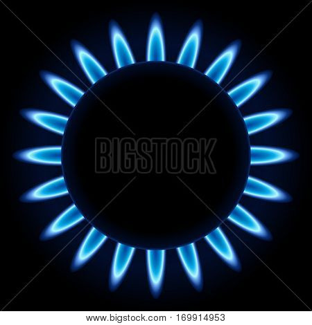 Blue flames ring of kitchen gas burner isolated on black background. Raster copy.