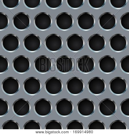 Seamless circle perforated metal grill pattern. Raster copy.