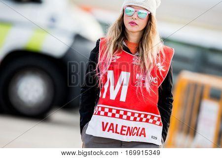 VALENCIA, SPAIN - NOV 13: Medical girl during Motogp Grand Prix of the Comunidad Valencia on November 13, 2016 in Valencia, Spain.