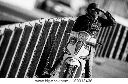 VALENCIA, SPAIN - NOV 13: Spectator during Motogp Grand Prix of the Comunidad Valencia on November 13, 2016 in Valencia, Spain.