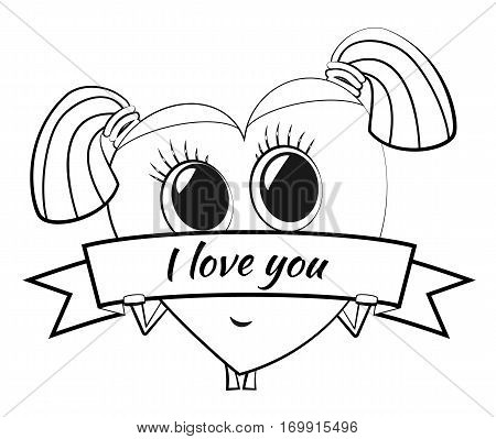 Cartoon heart on Valentine's Day. Cute female character with pigtails and a banner. Stylized shy girl with glasses. Love message. Outline drawing for color books.