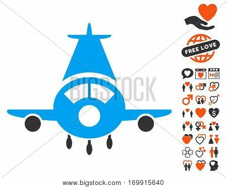 Cargo Plane icon with bonus dating pictograph collection. Vector illustration style is flat iconic elements for web design app user interfaces.