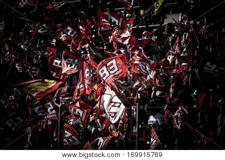 VALENCIA, SPAIN - NOV 13: Marc Marquez supporters Motogp Grand Prix of the Comunidad Valencia on November 13, 2016 in Valencia, Spain.