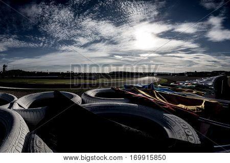 VALENCIA, SPAIN - NOV 12: Race marshalls position during Motogp Grand Prix of the Comunidad Valencia on November 12, 2016 in Valencia, Spain.