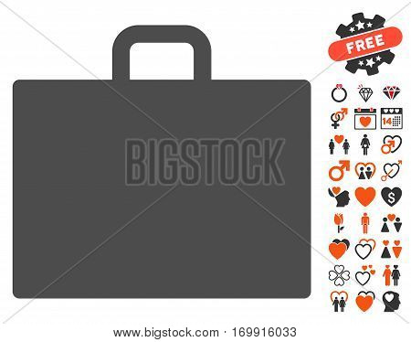 Case pictograph with bonus decoration clip art. Vector illustration style is flat iconic elements for web design app user interfaces.