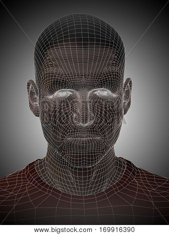Concept or conceptual 3D illustration wireframe young human male or man face or head on gray background for technology, cyborg, digital, virtual, avatar, model, science, fiction, future