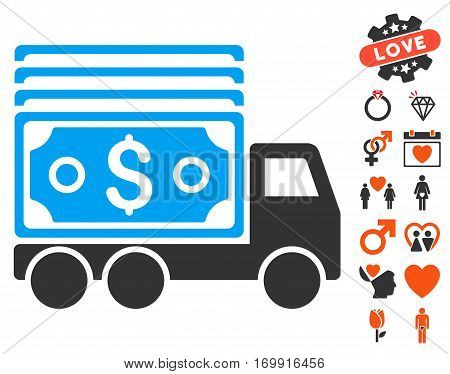 Cash Lorry pictograph with bonus amour images. Vector illustration style is flat iconic elements for web design app user interfaces.