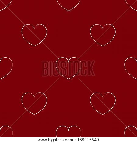 Seamless maroon pattern with hearts. Bright background for the Valentine's day. Theme of love. Texture with a white outline.