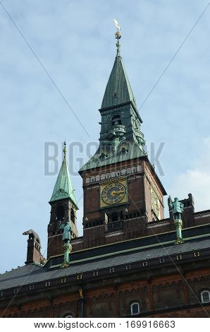A view of a clock tower in Copenhagen