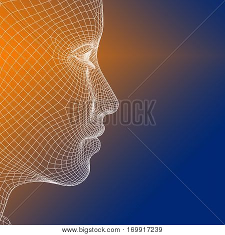 Concept conceptual 3D illustration wireframe young human female or woman face or head on blue orange background  for technology, cyborg, digital, virtual, avatar, model, science, fiction, future mesh