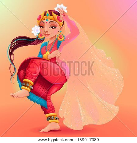 Indian dancer representing the veil of Maya. Cartoon vector isolated character