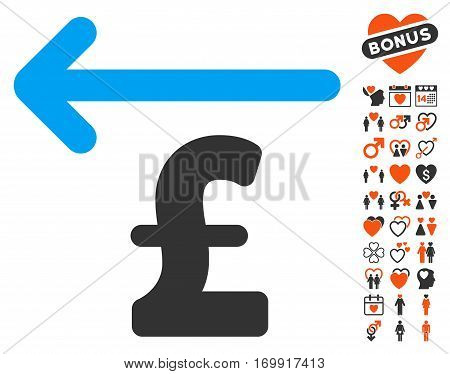 Cashback Pound pictograph with bonus marriage images. Vector illustration style is flat iconic elements for web design app user interfaces.