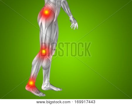 Conceptual 3D illustration of human man anatomy lower body health design, joint articular pain, ache injury on green background  for medical fitness medicine bone care hurt osteoporosis arthritis body
