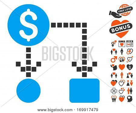 Cashflow pictograph with bonus decoration symbols. Vector illustration style is flat iconic symbols for web design app user interfaces.