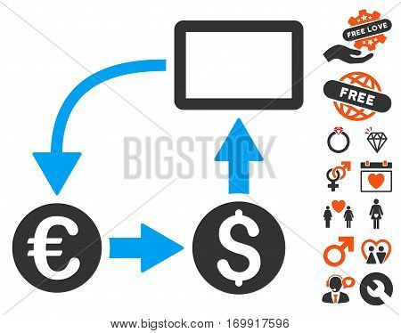 Cashflow Euro Exchange pictograph with bonus dating design elements. Vector illustration style is flat iconic symbols for web design app user interfaces.