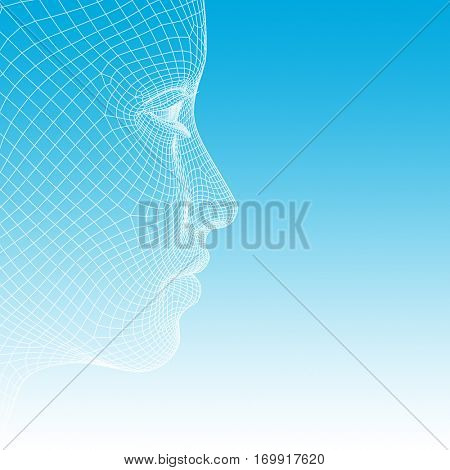 Concept or conceptual 3D illustration wireframe young human female or woman face or head on blue background for technology, cyborg, digital, virtual, avatar, model, science, fiction or future