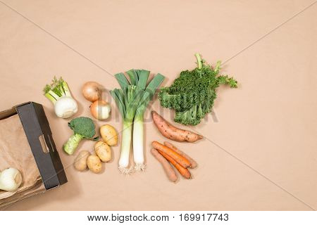 Small Assortment Of Fresh Vegetables With Copy Space
