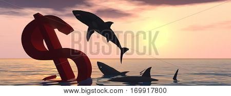 Conceptual 3D illustration bloody dollar symbol or sign sinking in water sea, with black sharks eating, metaphor or concept for crisis in US banner, financial, crash, danger, business currency designs
