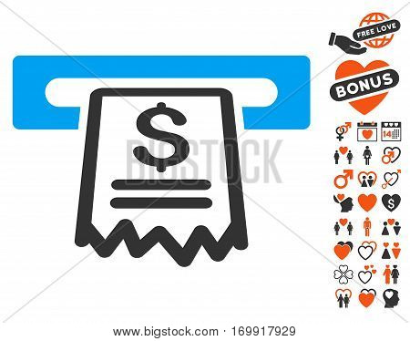 Cashier Receipt pictograph with bonus decoration pictograms. Vector illustration style is flat iconic symbols for web design app user interfaces.