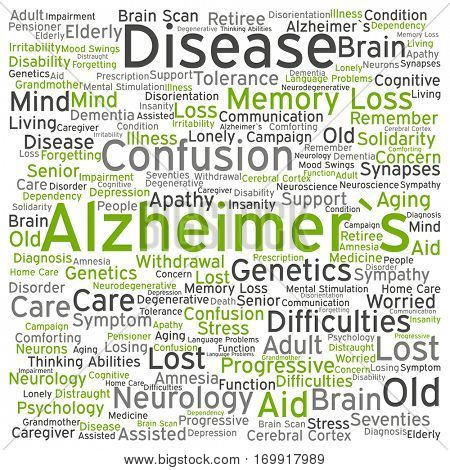 Concept conceptual Alzheimer`s disease symptoms abstract word cloud isolated on background, metaphor to care, loss, caregiving, aging, resistance, neurology, old, language, motor or resistance