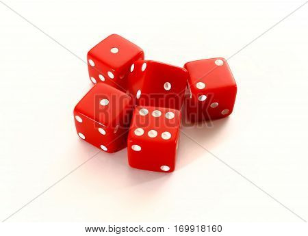 Red dice close up. Red casino dice isolated on white background. Games of chance theme.