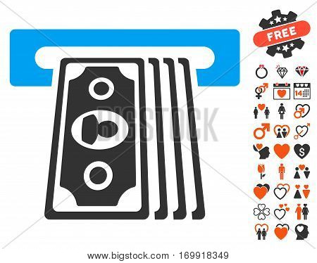 Cashpoint Terminal pictograph with bonus lovely pictograms. Vector illustration style is flat iconic elements for web design app user interfaces.