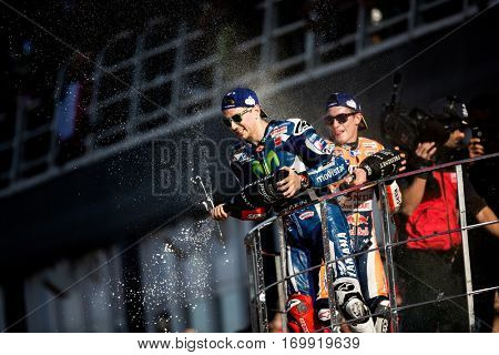 VALENCIA, SPAIN - NOV 13: (L) Lorenzo (R) Marquez during Motogp Grand Prix of the Comunidad Valencia on November 13, 2016 in Valencia, Spain.