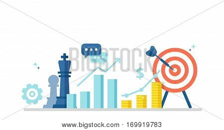 Marketing strategy banner in flat style. Business concept with icons of chess pieces, schedule, profit and purpose. Vector illustration for your design.