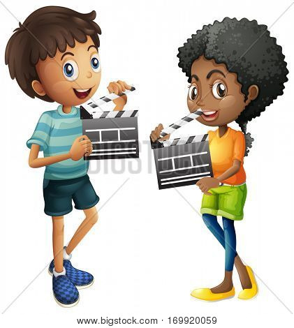 Boy and girl holding clapboard illustration