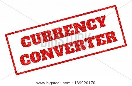Red rubber seal stamp with Currency Converter text. Vector tag inside rectangular shape. Grunge design and dust texture for watermark labels. Inclined sticker.