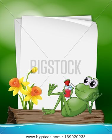 Paper template with frog drinking juice illustration