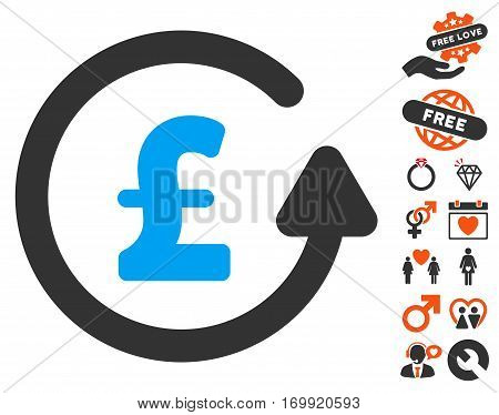 Chargeback Pound pictograph with bonus decoration images. Vector illustration style is flat iconic symbols for web design app user interfaces.