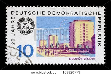 ZAGREB, CROATIA - JULY 02: a stamp printed in GDR shows View of Eisenhuttenstadt, circa 1969, on July 02,2014, Zagreb, Croatia