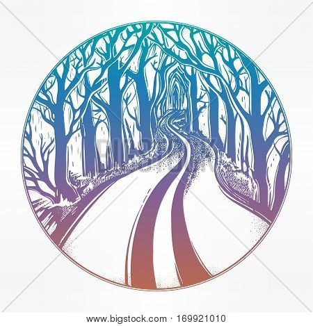 Empty road in the middle of the night through dark misty forest leading to horizon between trees. Eerie outdoors. Emtpy road to nowhere concept, tattoo art. Isolated vector illustration.