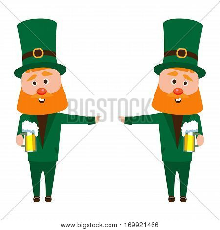 Saint Patrick's cartoon. A man with a red beard in an emerald suit. Cheerful man with a mug of foamy beer.