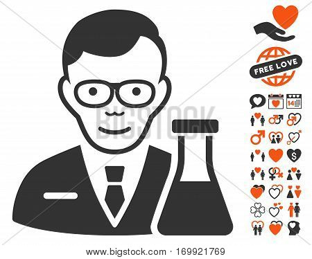 Chemist icon with bonus decorative pictures. Vector illustration style is flat iconic elements for web design app user interfaces.