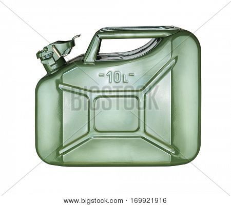 Green gasoline canister, jerrycan isolated on white