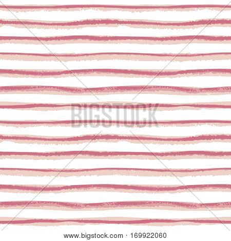 Seamless ink hand drawn stripe texture on white background. Trendy rose color endless pattern. Pale Dogwood tint.