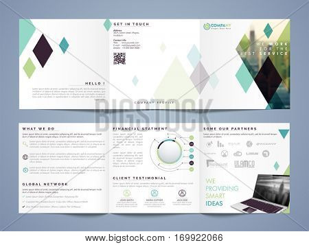 Three fold Business Flyer, Banner, Pamphlet with front, back and inner pages presentation.