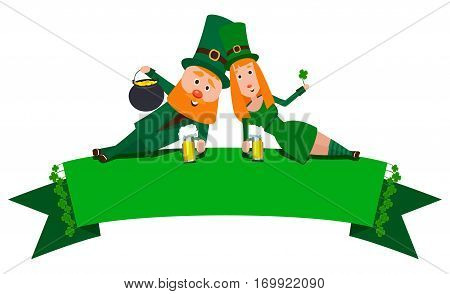 Saint Patrick with a girl lying on the banner. Cartoon character. A man with a red beard and a woman with red hair in an emerald suit. Cheerful young people with a mug of foamy beer.