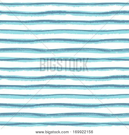 Seamless ink hand drawn stripe texture on white background. Trendy blue color endless pattern. Island paradise and Niagara tint.