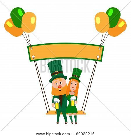 Saint Patrick with a girl on a swing under the banner. Cartoon character. A man with a red beard and a woman with red hair in an emerald suit. Cheerful young people with a mug of foamy beer.