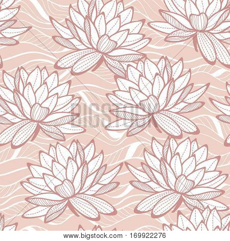 Stylish water lily seamless ornament. Floral pattern on wave background. Textile swatch in trendy rose colors. Pale Dogwood tint.