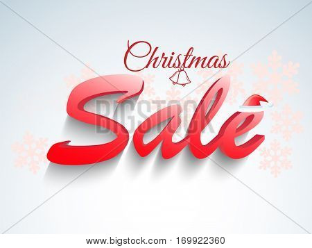 3D Text Sale on snowflakes decorated background, Creative Poster, Banner or Flyer design.