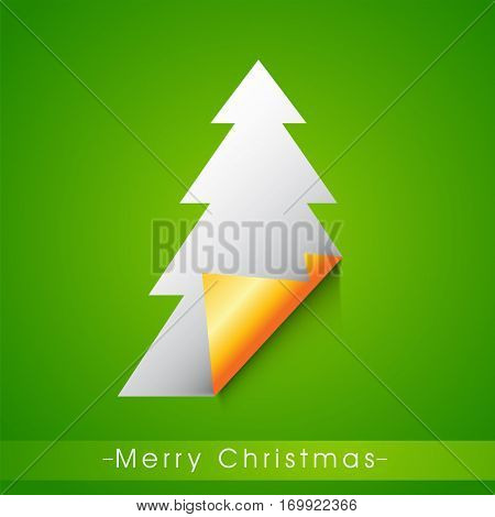 Creative sticky design in Xmas Tree shape on green background for Merry Christmas celebration.