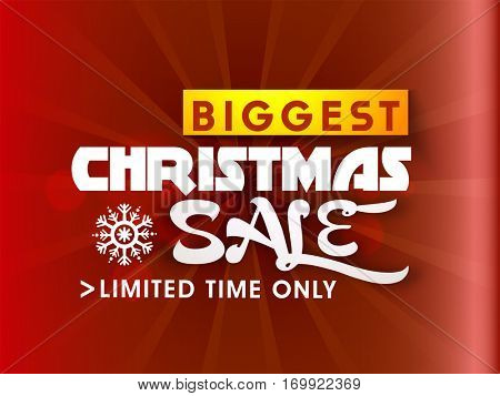 Biggest Christmas Sale for limited time only, Shiny Poster, Banner or Flyer design.