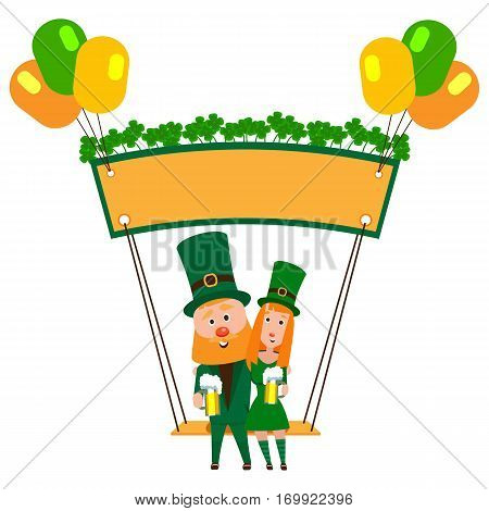 Saint Patrick with a girl on a swing under the banner of clover. Cartoon character. A man with a red beard and a woman in an emerald suit. Cheerful young people with a mug of foamy beer.
