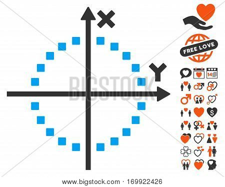 Circle Plot pictograph with bonus amour symbols. Vector illustration style is flat iconic symbols for web design app user interfaces.